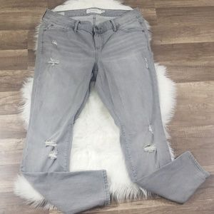 Torrid Grey Distressed Skinny Jeans